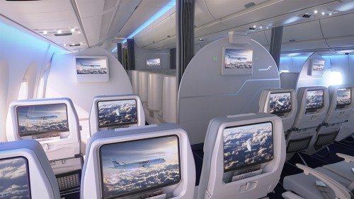 Turistklassen på Finnairs kommende A350, hvor der bl.a. er trådløst netværk ombord.