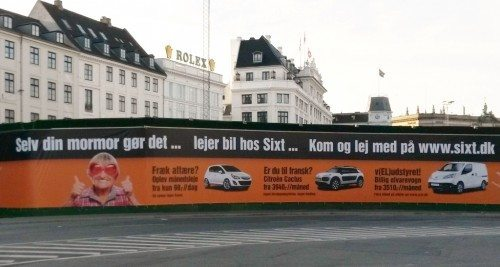 Sixt markedsføring på Kgs. Nytorv i København.