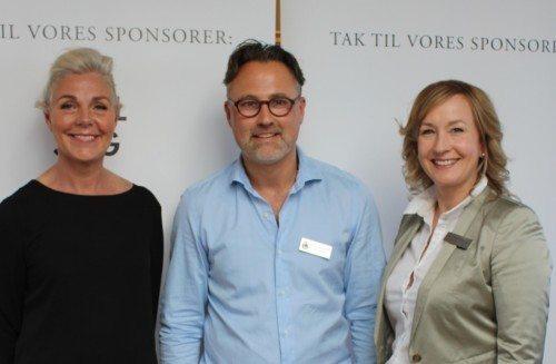 Fra Diamantbanko til fordel for Røde Kors på Kurhotel Skodsborg, fra venstre erhvervskvinden Anna Thygesen, Ulrik Hartmann, ejer af juvelerfirmaet Hartmann's og kurhotellets adm. direktør, Mai Kappenberger.