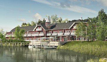 Arkitekttegning af, hvordan det nye hotel i Fårup Sommerland kommer til at se ud.
