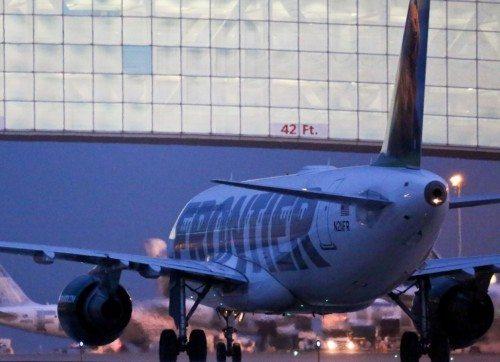 Frontier Airlines i Denvers nye hovedlufthavn, der i år har været i drift i 20 år.