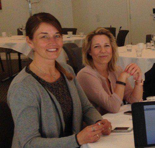 Line Hein, til venstre, bliver ny formand for Danish Business Travel Association, hvor hun afløser Line Olufson Bruun, der snart flytter til Californien. Foto: Preben Pathuel.