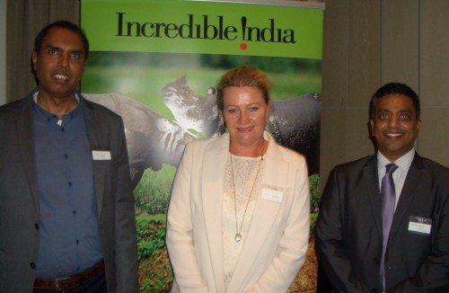 Fra venstre Philip Lancy Pereira, Indua Tourism Amsterdam, Pia Kitten Sørensen, der stod for arrangementet med sit nye firma Target Tourism, og Ramkumar Vijayan, India Tourism Frankfurt.