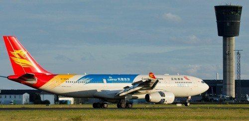 Første fly fra Beijing Capital Airlines' landede i går i Københavns Lufthavn – foto: Ernst Tobisch.