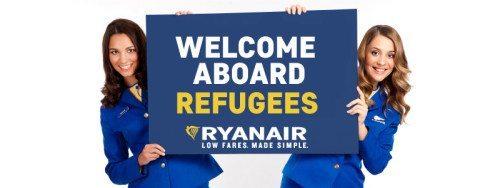Foto fra den falske pressemeddelelse om at Ryanair ville flyve flygtninge fra Sydeuropa til bl.a. Danmark.