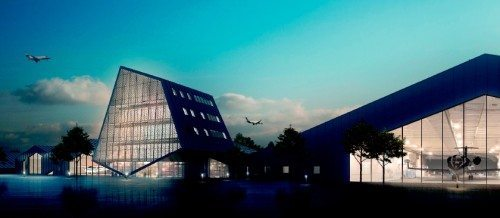 Sådan kommer Sun-Airs flotte nye hovedkvarter efter planen til at se ud når det står klart næste år.