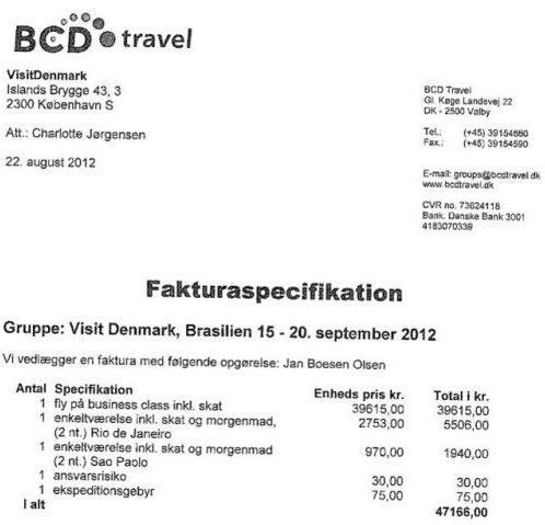 Et af bilagene fra Jan Olsens rejser som VisitDenmark-direktør. Kilde: Metroxpress.