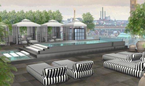 På toppen af det udvidede Nimb Hotel kommer der fra 2017 terrasse med restaurant samt helårspool.