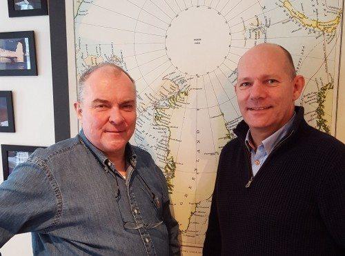 Arctic Adventures ejer, Peter Morell, til venstre, og rejsebureauets nye adm. direktør, Jens Christian Hildestad.