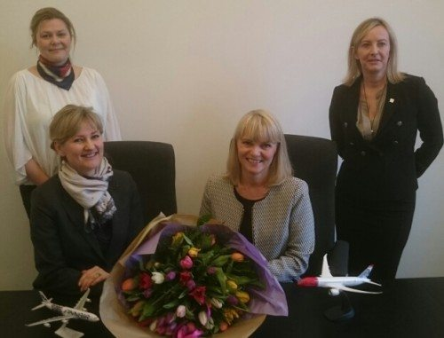 OSM Aviation Groups team i Danmark, forrest til venstre Lise Lunding og Aase Mikkelsen. Bagest Caroline Runesson og Gitte Leonce.