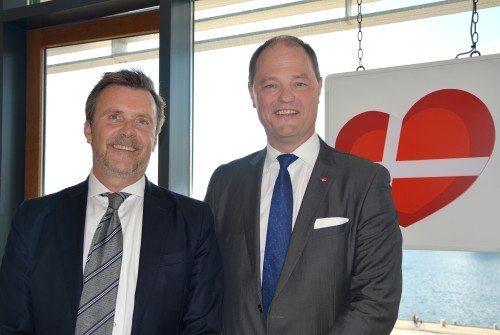 Jens Wittrup Willumsen, til venstre, med Allan Agerholm ved receptionen hos VisitDenmark. Foto: Preben Pathuel.
