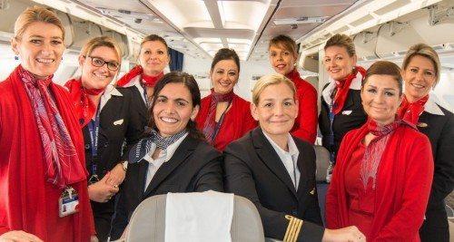 Der var ren kvindebesætning i går på Brussels Airlines' afgang til New York.