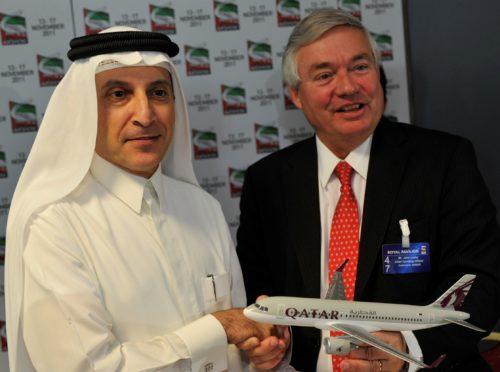 I 2011, da forholdet var bedre mellem Qatar Airways og Airbus, Qatar Airways koncernchef, Akbar al-Baker, og Airbus salgschef, John Leahy