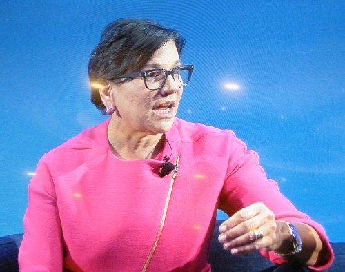 USAs handelsminister, Penny Pritzker, under paneldebatten i Dallas i går.