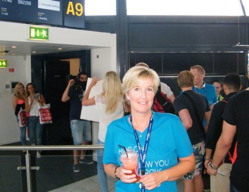 Nordisk chef for Brussels Airlines, Helle Lydum Pedersen, ved party-gaten i går i Københavns Lufthavn,.