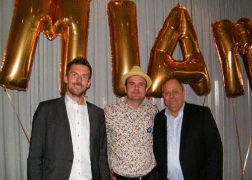 Fra SAS-receptionen i går, fra venstre Ole Høgh, salgschef i Danmark for Carlson Rezidor, SAS salgschef i Danmark, Michael Hansen og Avis Biludlejnings chef for det udgående salg, Leif Eddy Iversen.