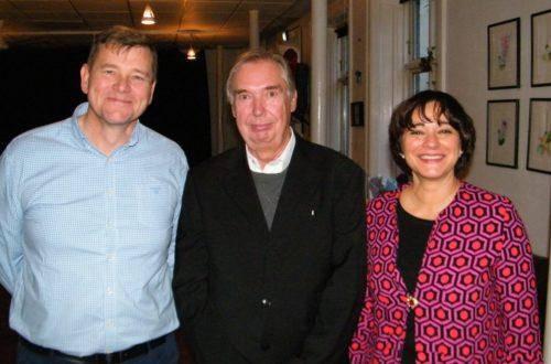 Fra Atlantic Airways reception, fra venstre bestyrelsesformand, Niels Mortensen, Per Levring, og Atlantic Airways koncernchef, Jóhanna á Bergi.